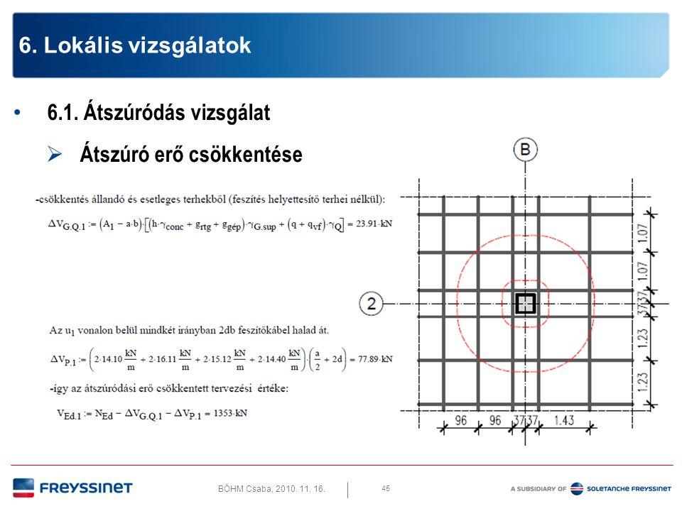 BÖHM Csaba, 2010.11. 16. 6.1. Átszúródás vizsgálat  Ferde nyomott beton rácsrúd teherbírása 46 6.