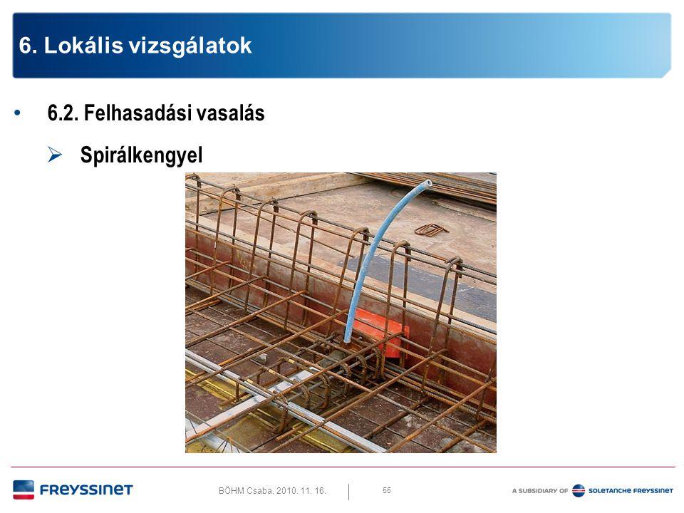 BÖHM Csaba, 2010.11. 16. 6.2. Felhasadási vasalás  Spirálkengyel méretek 56 6.