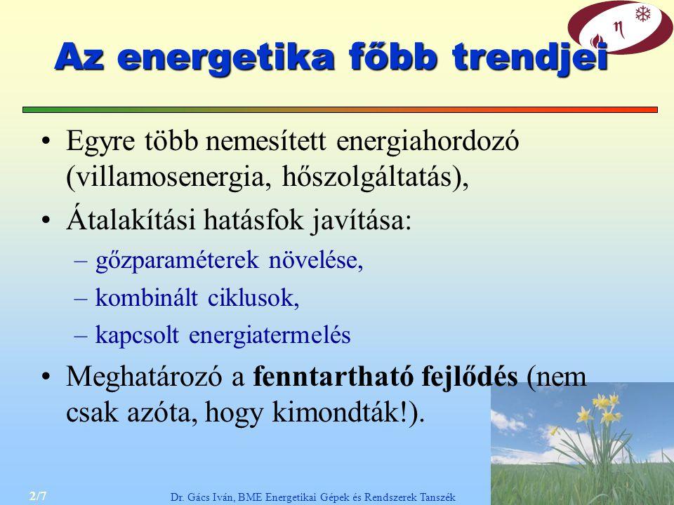 2/7 Dr. Gács Iván, BME Energetikai Gépek és Rendszerek Tanszék Az energetika főbb trendjei Egyre több nemesített energiahordozó (villamosenergia, hősz