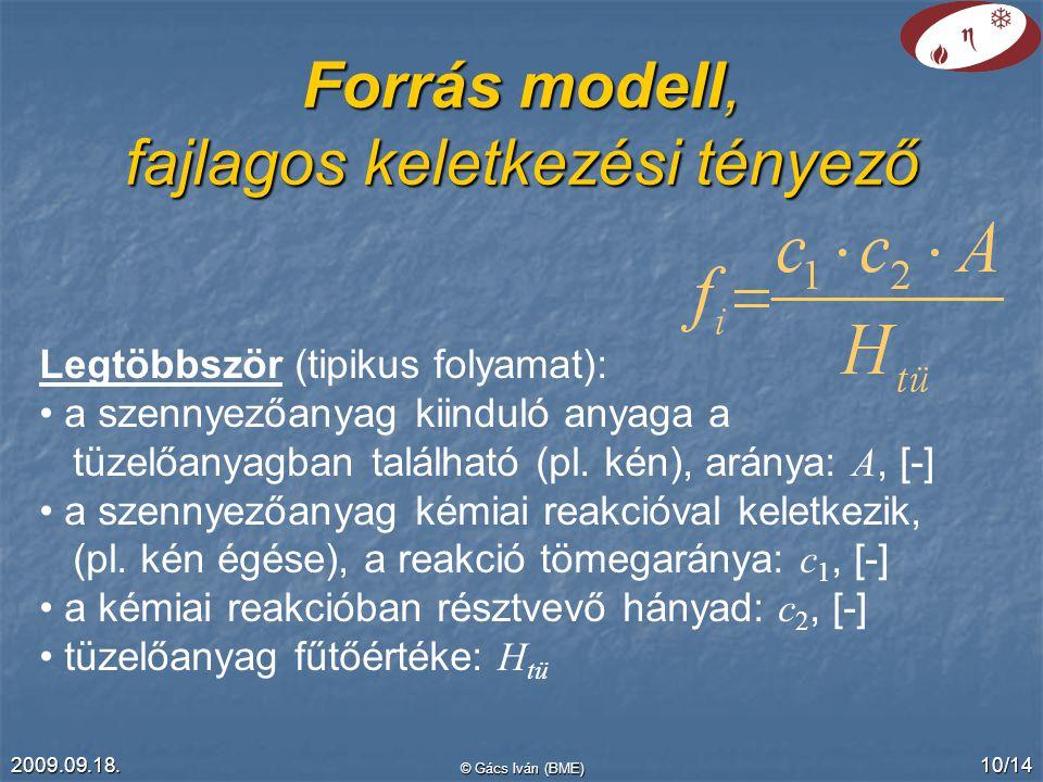 2009.09.18. © Gács Iván (BME) 10/14 Forrás modell, fajlagos keletkezési tényező Legtöbbször (tipikus folyamat): a szennyezőanyag kiinduló anyaga a tüz