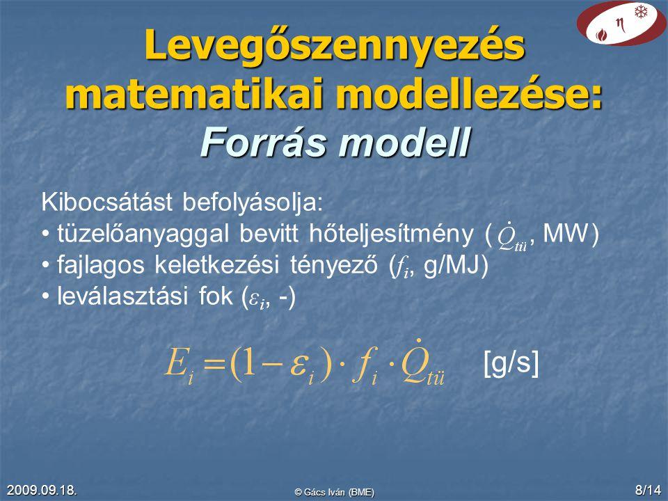 2009.09.18. © Gács Iván (BME) 8/14 Levegőszennyezés matematikai modellezése: Forrás modell Kibocsátást befolyásolja: tüzelőanyaggal bevitt hőteljesítm