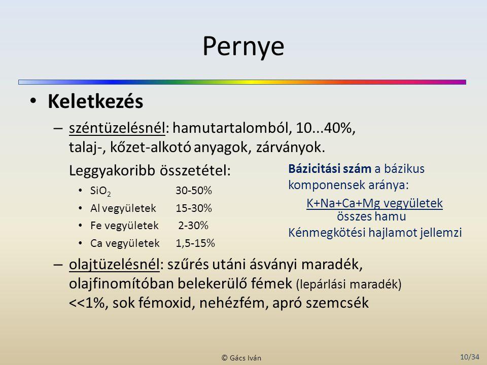 10/34 © Gács Iván Pernye Keletkezés – széntüzelésnél: hamutartalomból, 10...40%, talaj-, kőzet-alkotó anyagok, zárványok. Leggyakoribb összetétel: SiO