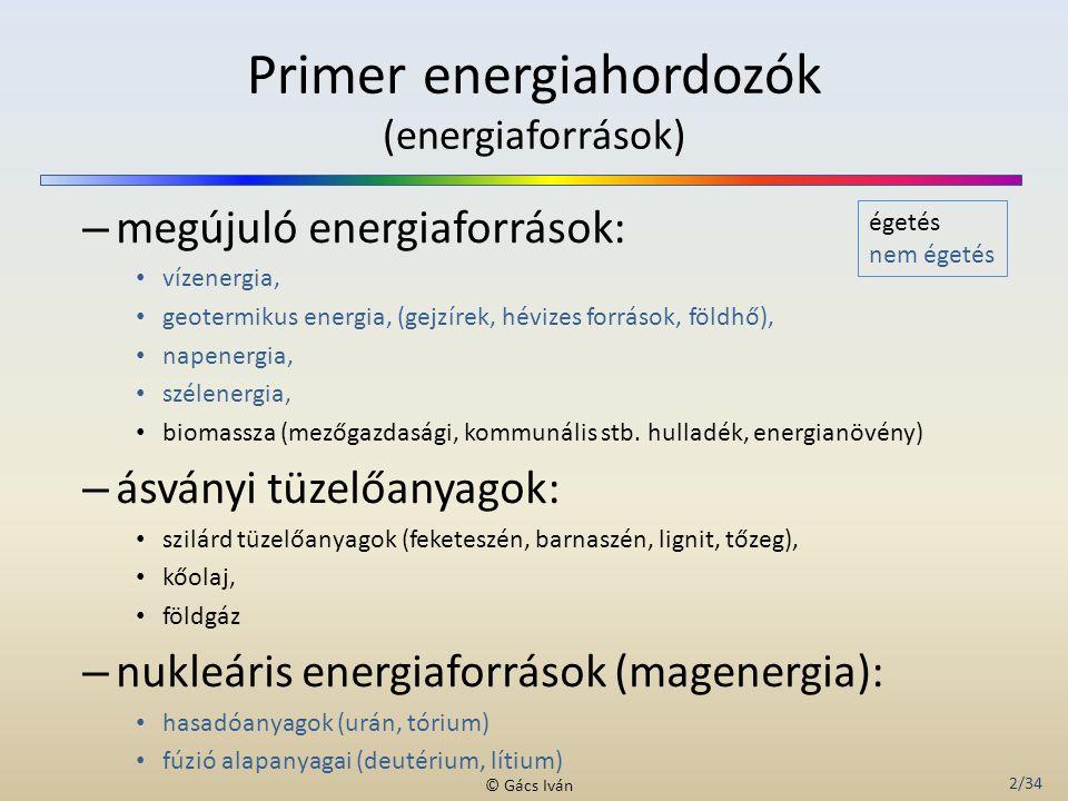 2/34 © Gács Iván Primer energiahordozók (energiaforrások) – megújuló energiaforrások: vízenergia, geotermikus energia, (gejzírek, hévizes források, fö