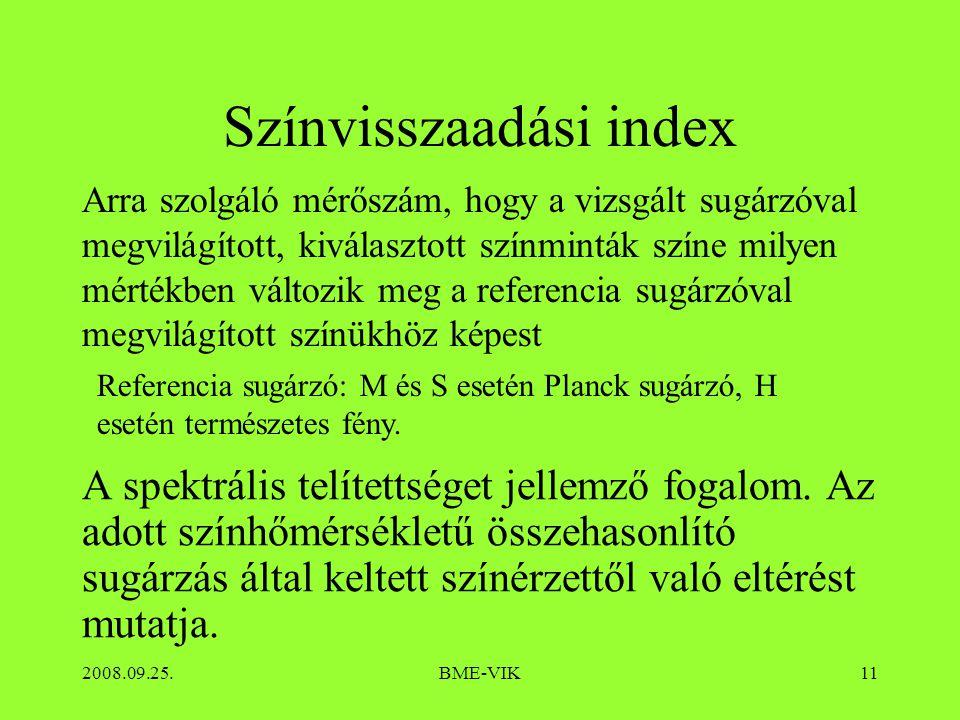 2008.09.25.BME-VIK11 Színvisszaadási index A spektrális telítettséget jellemző fogalom.