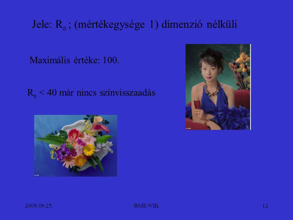 2008.09.25.BME-VIK12 Jele: R a ; (mértékegysége 1) dimenzió nélküli Maximális értéke: 100.