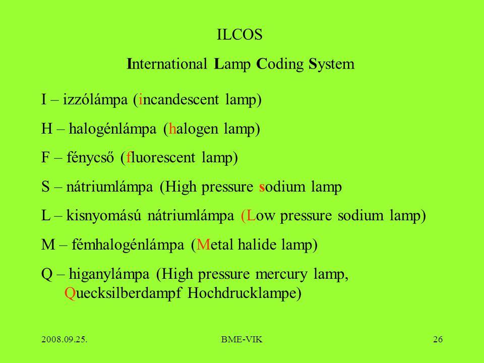 2008.09.25.BME-VIK26 ILCOS International Lamp Coding System I – izzólámpa (incandescent lamp) H – halogénlámpa (halogen lamp) F – fénycső (fluorescent lamp) S – nátriumlámpa (High pressure sodium lamp L – kisnyomású nátriumlámpa (Low pressure sodium lamp) M – fémhalogénlámpa (Metal halide lamp) Q – higanylámpa (High pressure mercury lamp, Quecksilberdampf Hochdrucklampe)