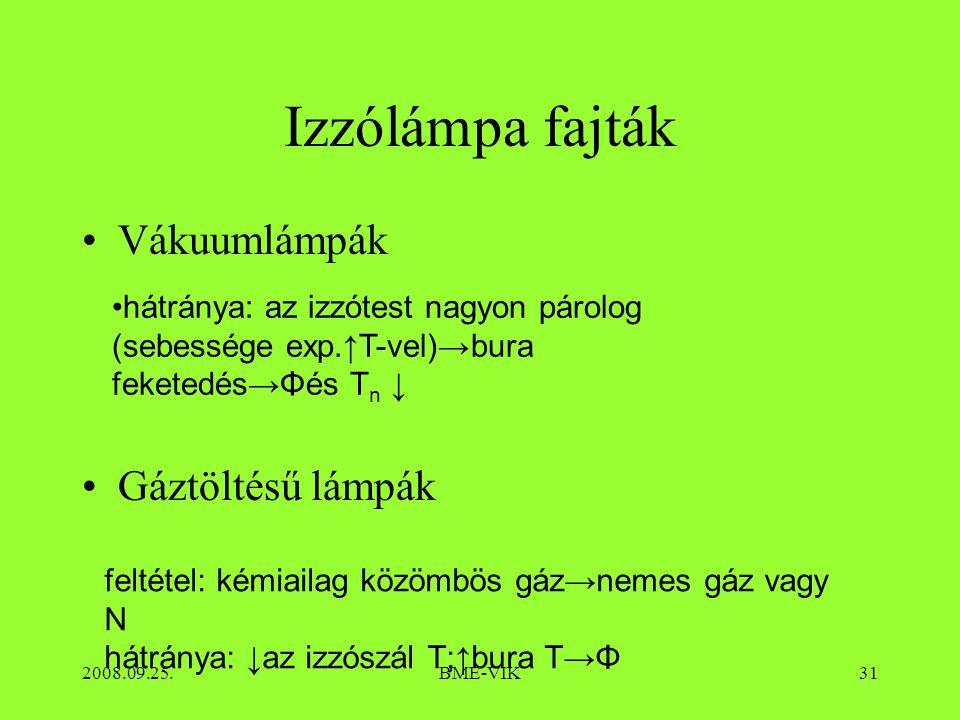 2008.09.25.BME-VIK31 Izzólámpa fajták Vákuumlámpák Gáztöltésű lámpák hátránya: az izzótest nagyon párolog (sebessége exp.↑T-vel)→bura feketedés→Φés T n ↓ feltétel: kémiailag közömbös gáz→nemes gáz vagy N hátránya: ↓az izzószál T;↑bura T→Φ