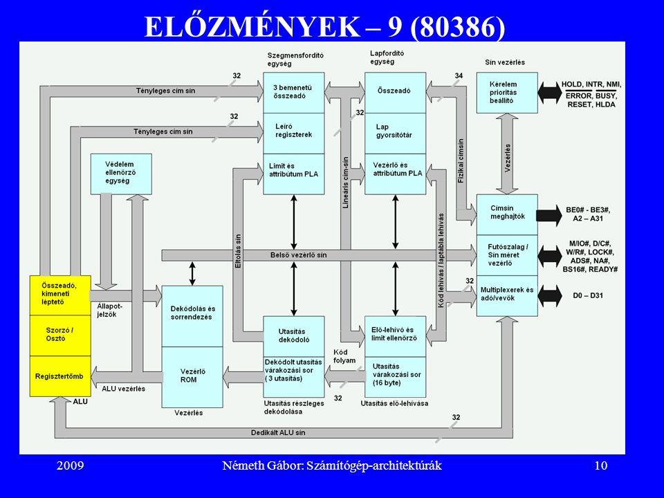 2009Németh Gábor: Számítógép-architektúrák10 ELŐZMÉNYEK – 9 (80386)
