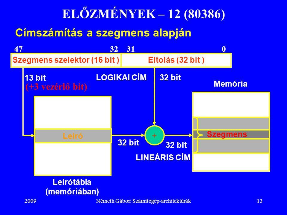 2009Németh Gábor: Számítógép-architektúrák13 ELŐZMÉNYEK – 12 (80386) Címszámítás a szegmens alapján Szegmens szelektor (16 bit )Eltolás (32 bit ) 0313