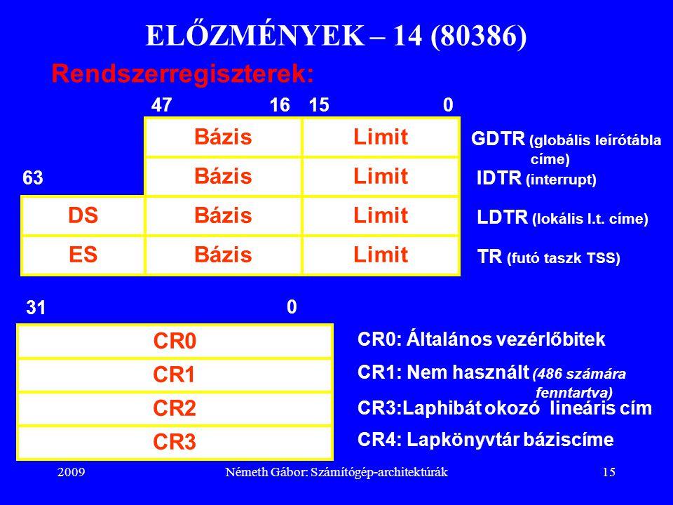 2009Németh Gábor: Számítógép-architektúrák15 ELŐZMÉNYEK – 14 (80386) Rendszerregiszterek: ESBázisLimit BázisLimit IDTR (interrupt) TR (futó taszk TSS)