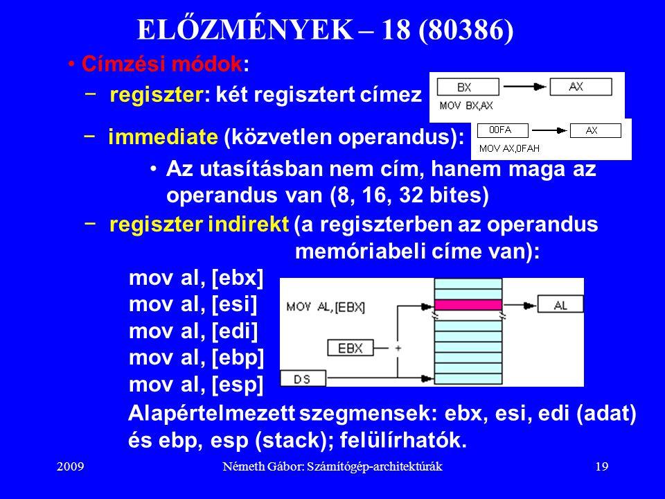 2009Németh Gábor: Számítógép-architektúrák19 ELŐZMÉNYEK – 18 (80386) −immediate (közvetlen operandus): Az utasításban nem cím, hanem maga az operandus