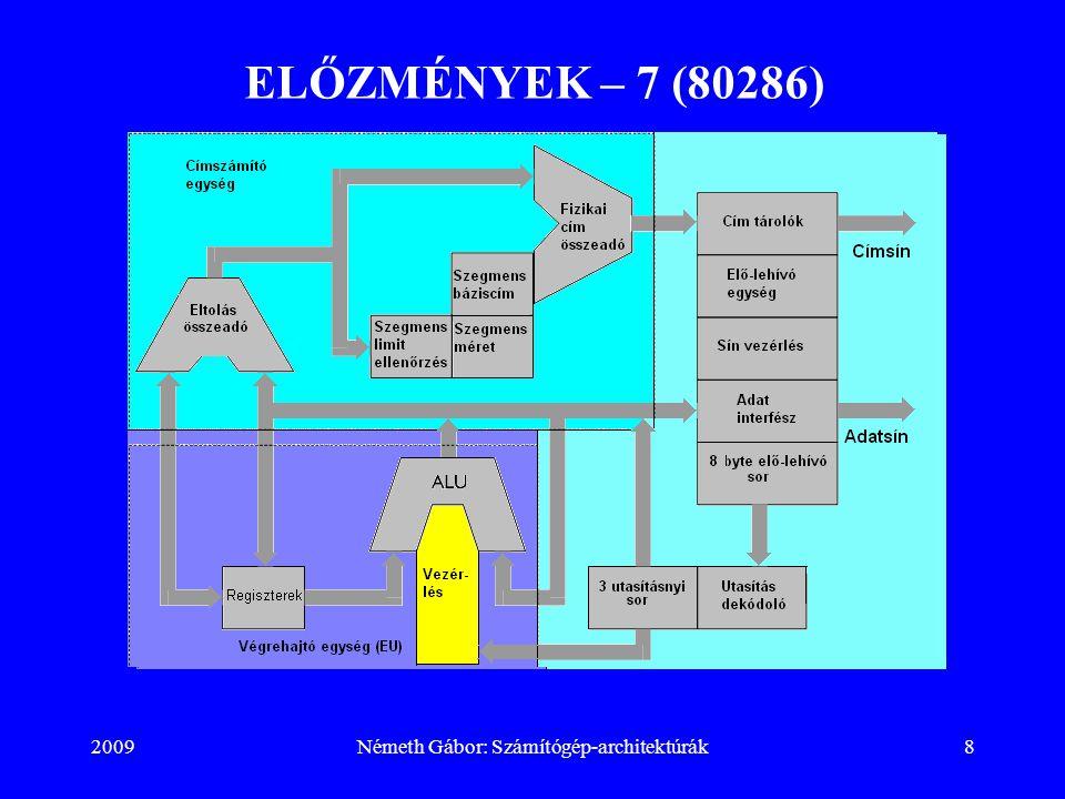 2009Németh Gábor: Számítógép-architektúrák19 ELŐZMÉNYEK – 18 (80386) −immediate (közvetlen operandus): Az utasításban nem cím, hanem maga az operandus van (8, 16, 32 bites) Címzési módok: − regiszter: két regisztert címez − regiszter indirekt (a regiszterben az operandus memóriabeli címe van): mov al, [ebx] mov al, [esi] mov al, [edi] mov al, [ebp] mov al, [esp] Alapértelmezett szegmensek: ebx, esi, edi (adat) és ebp, esp (stack); felülírhatók.