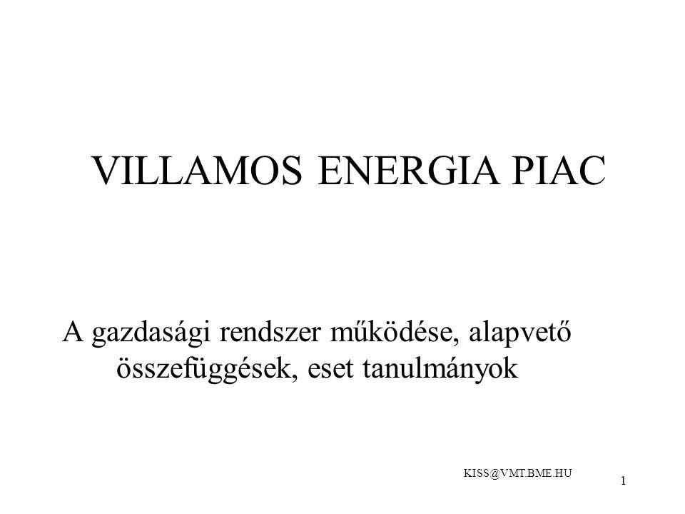1 VILLAMOS ENERGIA PIAC A gazdasági rendszer működése, alapvető összefüggések, eset tanulmányok KISS@VMT.BME.HU