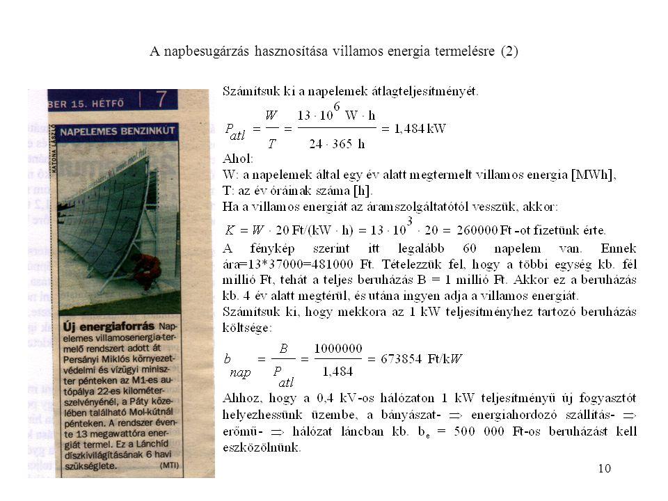 10 A napbesugárzás hasznosítása villamos energia termelésre (2)