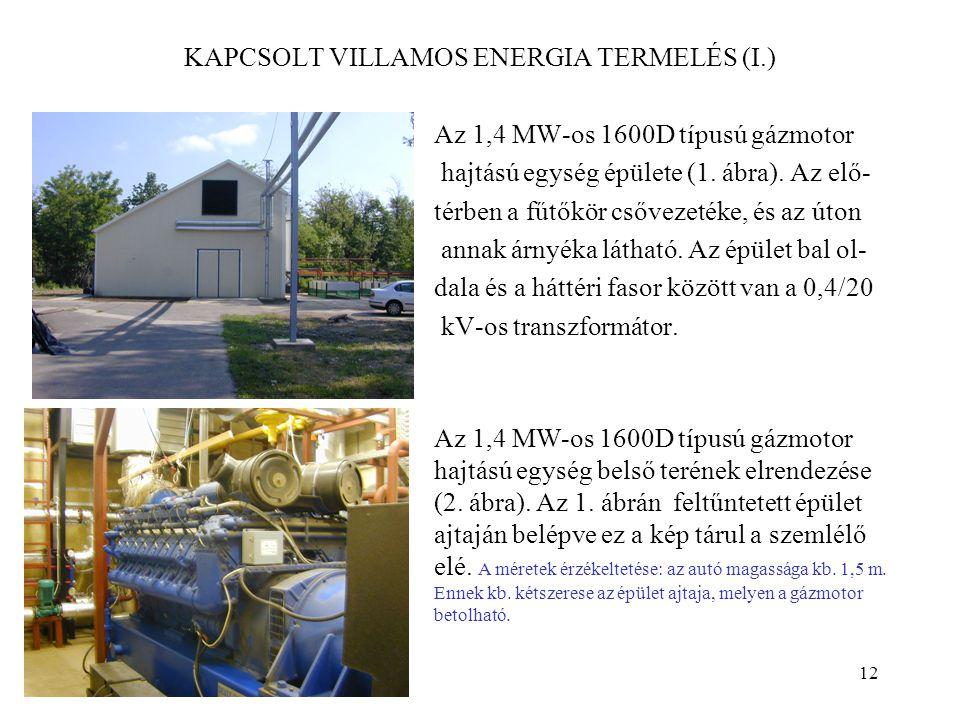 12 KAPCSOLT VILLAMOS ENERGIA TERMELÉS (I.) Az 1,4 MW-os 1600D típusú gázmotor hajtású egység épülete (1. ábra). Az elő- térben a fűtőkör csővezetéke,