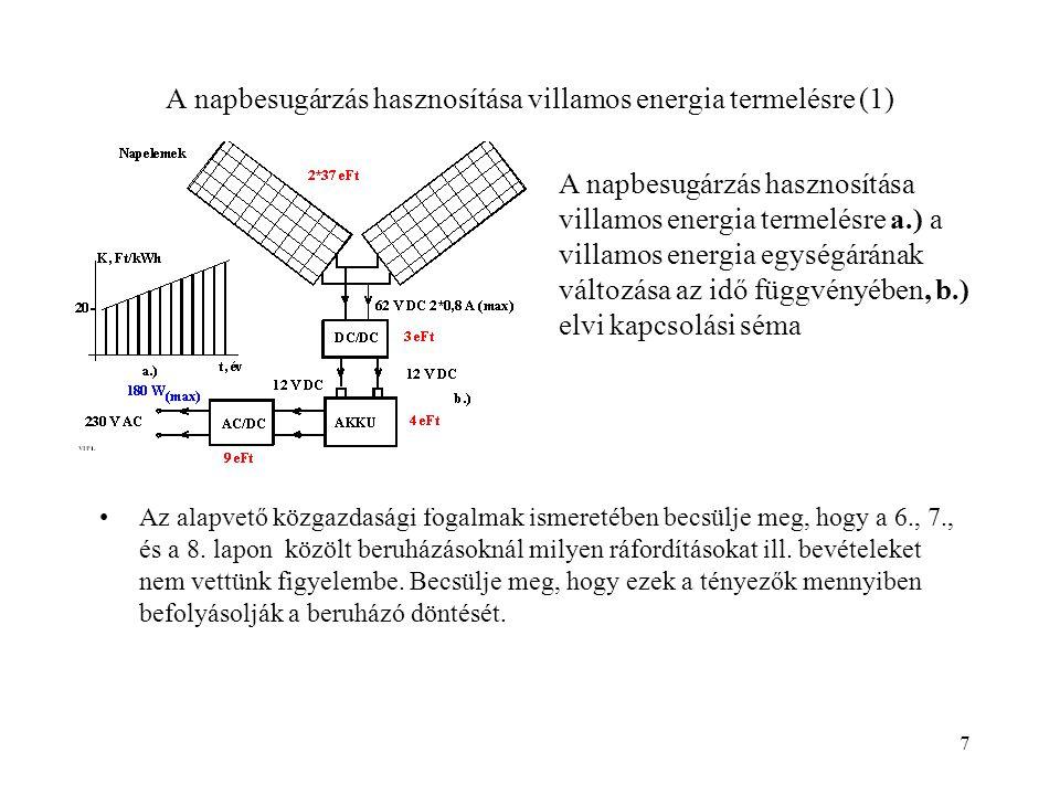 7 A napbesugárzás hasznosítása villamos energia termelésre (1) Az alapvető közgazdasági fogalmak ismeretében becsülje meg, hogy a 6., 7., és a 8. lapo