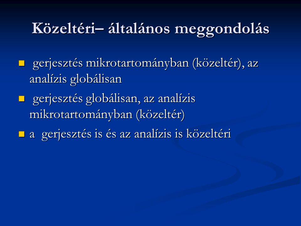 Közeltéri– általános meggondolás gerjesztés mikrotartományban (közeltér), az analízis globálisan gerjesztés mikrotartományban (közeltér), az analízis globálisan gerjesztés globálisan, az analízis mikrotartományban (közeltér) gerjesztés globálisan, az analízis mikrotartományban (közeltér) a gerjesztés is és az analízis is közeltéri a gerjesztés is és az analízis is közeltéri