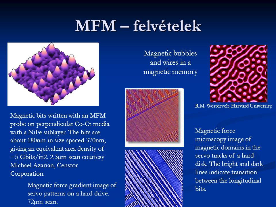 MFM – felvételek Magnetic bubbles and wires in a magnetic memory R.M. Westervelt, Harvard University. Magnetic force microscopy image of magnetic doma
