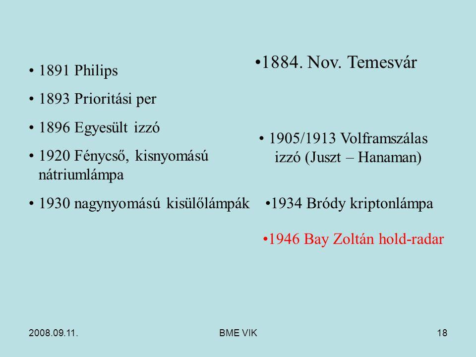 2008.09.11.BME VIK18 1891 Philips 1893 Prioritási per 1896 Egyesült izzó 1920 Fénycső, kisnyomású nátriumlámpa 1930 nagynyomású kisülőlámpák 1905/1913