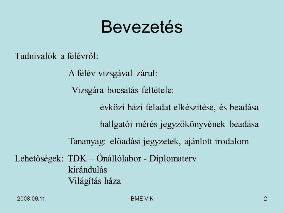 2008.09.11.BME VIK2 Bevezetés Tudnivalók a félévről: A félév vizsgával zárul: Vizsgára bocsátás feltétele: évközi házi feladat elkészítése, és beadása