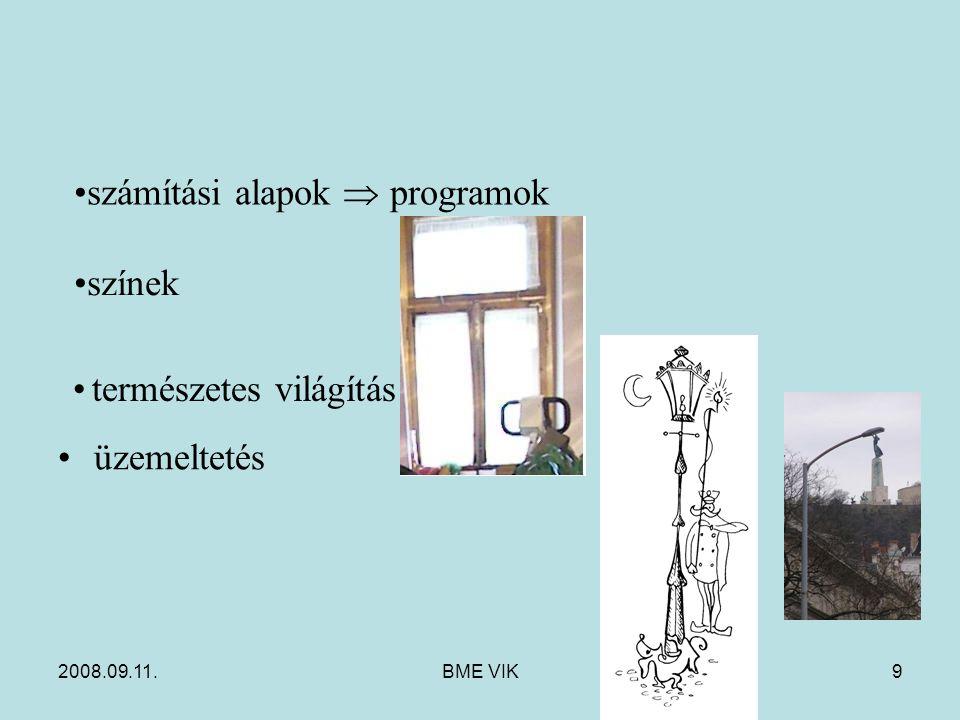 2008.09.11.BME VIK9 üzemeltetés számítási alapok  programok színek természetes világítás