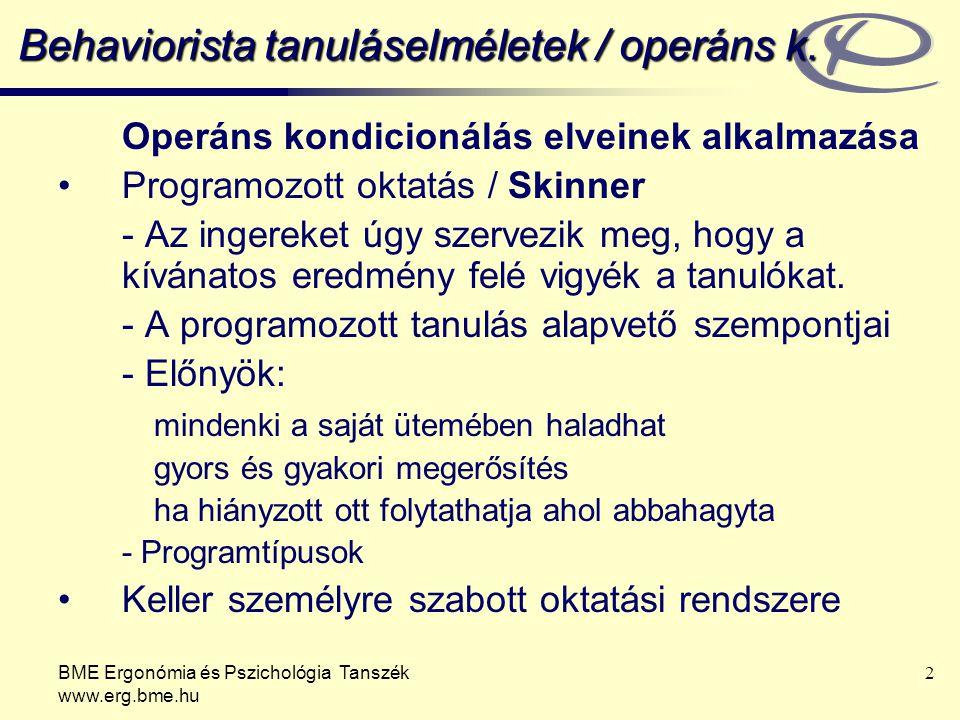 BME Ergonómia és Pszichológia Tanszék www.erg.bme.hu 2 Behaviorista tanuláselméletek / operáns k. Operáns kondicionálás elveinek alkalmazása Programoz