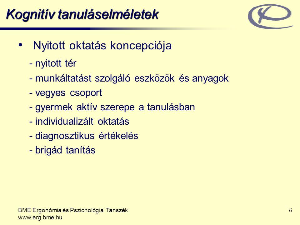 BME Ergonómia és Pszichológia Tanszék www.erg.bme.hu 6 Kognitív tanuláselméletek Nyitott oktatás koncepciója - nyitott tér - munkáltatást szolgáló esz
