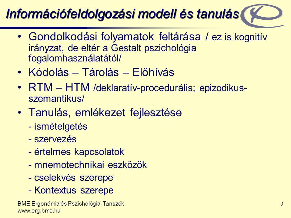 BME Ergonómia és Pszichológia Tanszék www.erg.bme.hu 9 Információfeldolgozási modell és tanulás Gondolkodási folyamatok feltárása / ez is kognitív irányzat, de eltér a Gestalt pszichológia fogalomhasználatától/ Kódolás – Tárolás – Előhívás RTM – HTM /deklaratív-procedurális; epizodikus- szemantikus/ Tanulás, emlékezet fejlesztése - ismételgetés - szervezés - értelmes kapcsolatok - mnemotechnikai eszközök - cselekvés szerepe - Kontextus szerepe