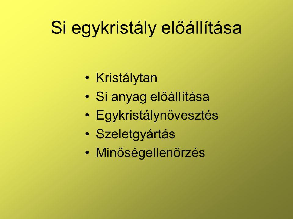 Si egykristály előállítása Kristálytan Si anyag előállítása Egykristálynövesztés Szeletgyártás Minőségellenőrzés