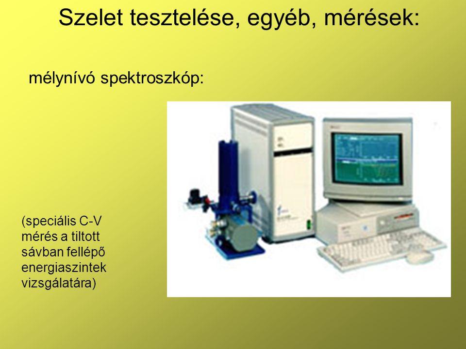 Szelet tesztelése, egyéb, mérések: mélynívó spektroszkóp: (speciális C-V mérés a tiltott sávban fellépő energiaszintek vizsgálatára)