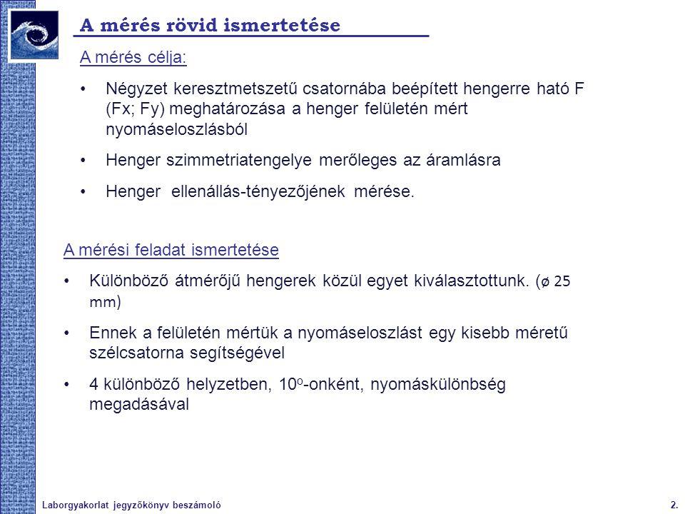 3.Laborgyakorlat jegyzőkönyv beszámoló A mérőberendezés ismertetése Szélcsatorna: Radiális ventilátor Kifúvó keresztmetszet: 150 x 150 mm Mérőcsatorna Kiáramló maximális áramlási sebesség: 32 m/s