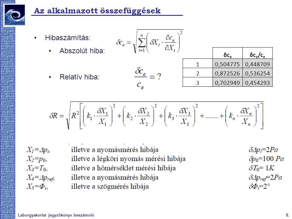 9.Laborgyakorlat jegyzőkönyv beszámoló A vizsgált fizikai paraméter Paraméterek: Nyomástényező a 3 helyzetben 1.