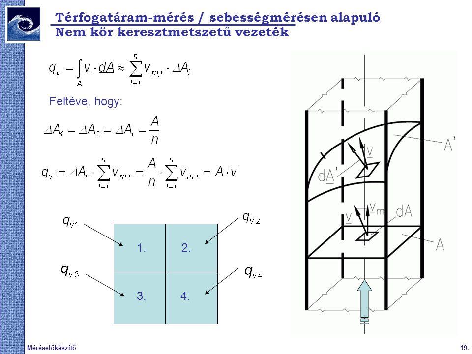 19.Méréselőkészítő Térfogatáram-mérés / sebességmérésen alapuló Nem kör keresztmetszetű vezeték Feltéve, hogy: 1.2.