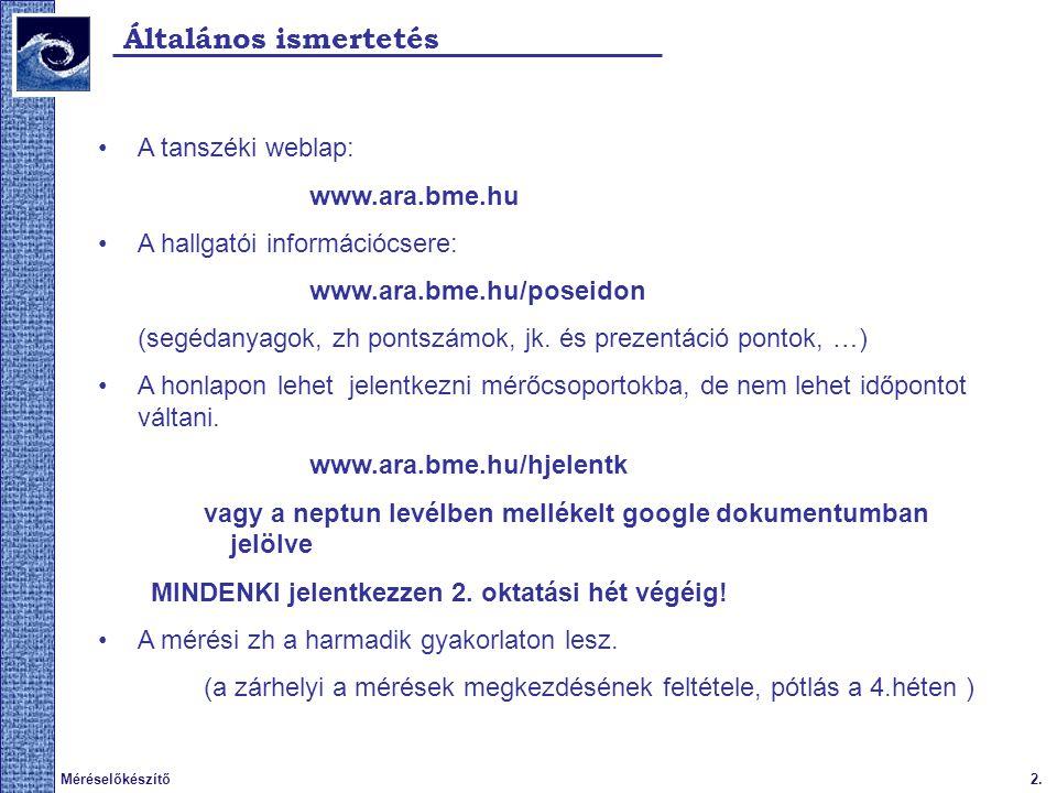 2.Méréselőkészítő Általános ismertetés A tanszéki weblap: www.ara.bme.hu A hallgatói információcsere: www.ara.bme.hu/poseidon (segédanyagok, zh pontszámok, jk.
