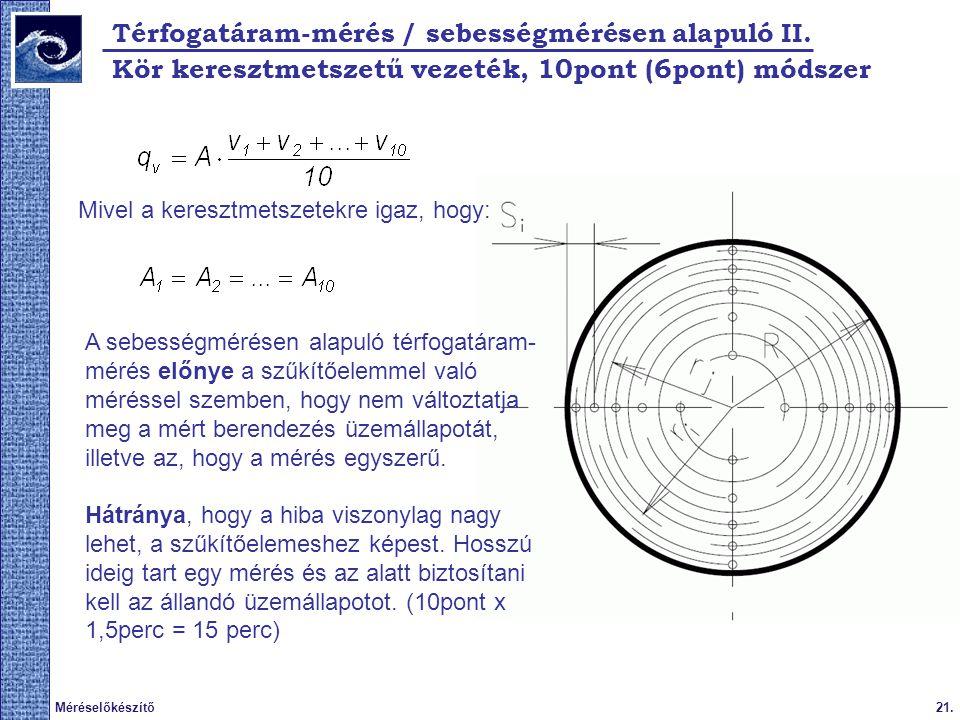 21.Méréselőkészítő Térfogatáram-mérés / sebességmérésen alapuló II.