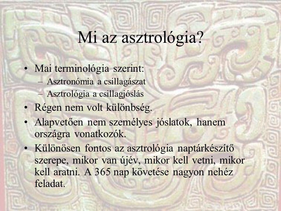 Mi az asztrológia? Mai terminológia szerint: –Asztronómia a csillagászat –Asztrológia a csillagjóslás Régen nem volt különbség. Alapvetően nem személy
