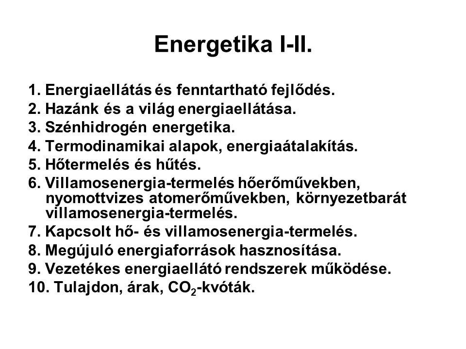 Energetika I-II. 1. Energiaellátás és fenntartható fejlődés. 2. Hazánk és a világ energiaellátása. 3. Szénhidrogén energetika. 4. Termodinamikai alapo