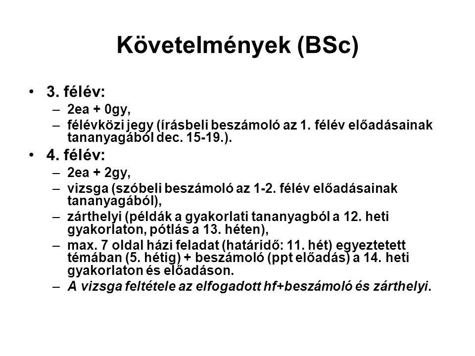 Követelmények (BSc) 3. félév: –2ea + 0gy, –félévközi jegy (írásbeli beszámoló az 1.