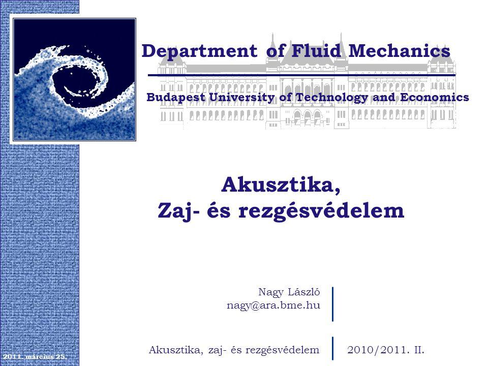 Akusztika, Zaj- és rezgésvédelem Budapest University of Technology and Economics Department of Fluid Mechanics 2011.