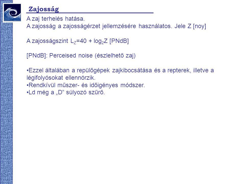 Zajosság A zaj terhelés hatása. A zajosság a zajosságérzet jellemzésére használatos. Jele Z [noy] A zajosságszint L Z =40 + log 2 Z [PNdB] [PNdB]: Per