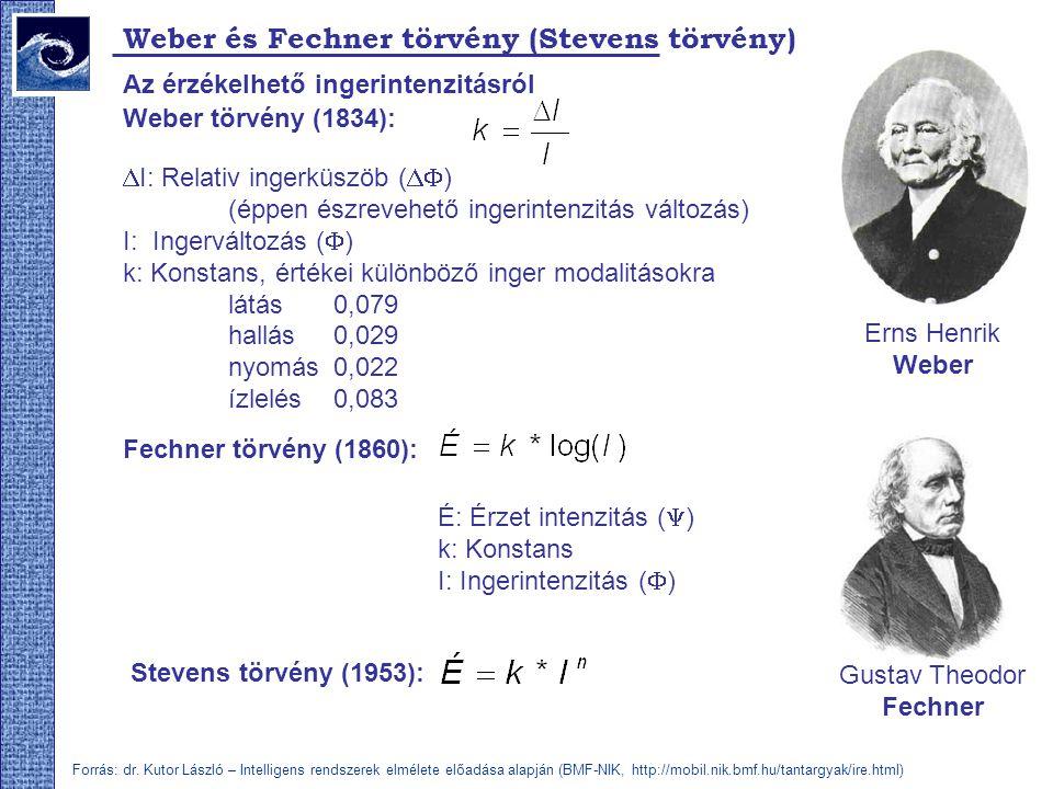 Weber és Fechner törvény (Stevens törvény) Az érzékelhető ingerintenzitásról Gustav Theodor Fechner É: Érzet intenzitás (  ) k: Konstans I: Ingerintenzitás (  ) Fechner törvény (1860): Weber törvény (1834): Erns Henrik Weber  I: Relativ ingerküszöb (  ) (éppen észrevehető ingerintenzitás változás) I: Ingerváltozás (  ) k: Konstans, értékei különböző inger modalitásokra látás0,079 hallás0,029 nyomás0,022 ízlelés0,083 Stevens törvény (1953): Forrás: dr.