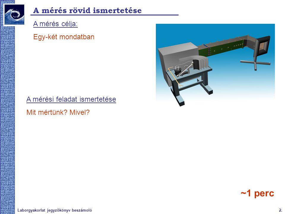 2.Laborgyakorlat jegyzőkönyv beszámoló A mérés rövid ismertetése A mérés célja: Egy-két mondatban A mérési feladat ismertetése Mit mértünk? Mivel? ~1