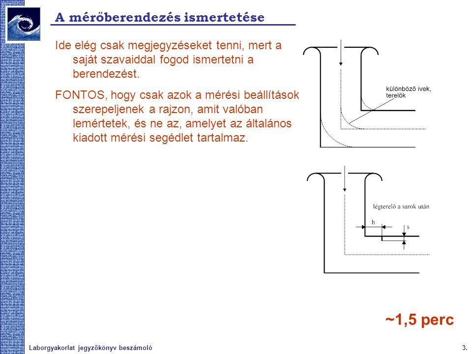 3.Laborgyakorlat jegyzőkönyv beszámoló A mérőberendezés ismertetése Ide elég csak megjegyzéseket tenni, mert a saját szavaiddal fogod ismertetni a ber