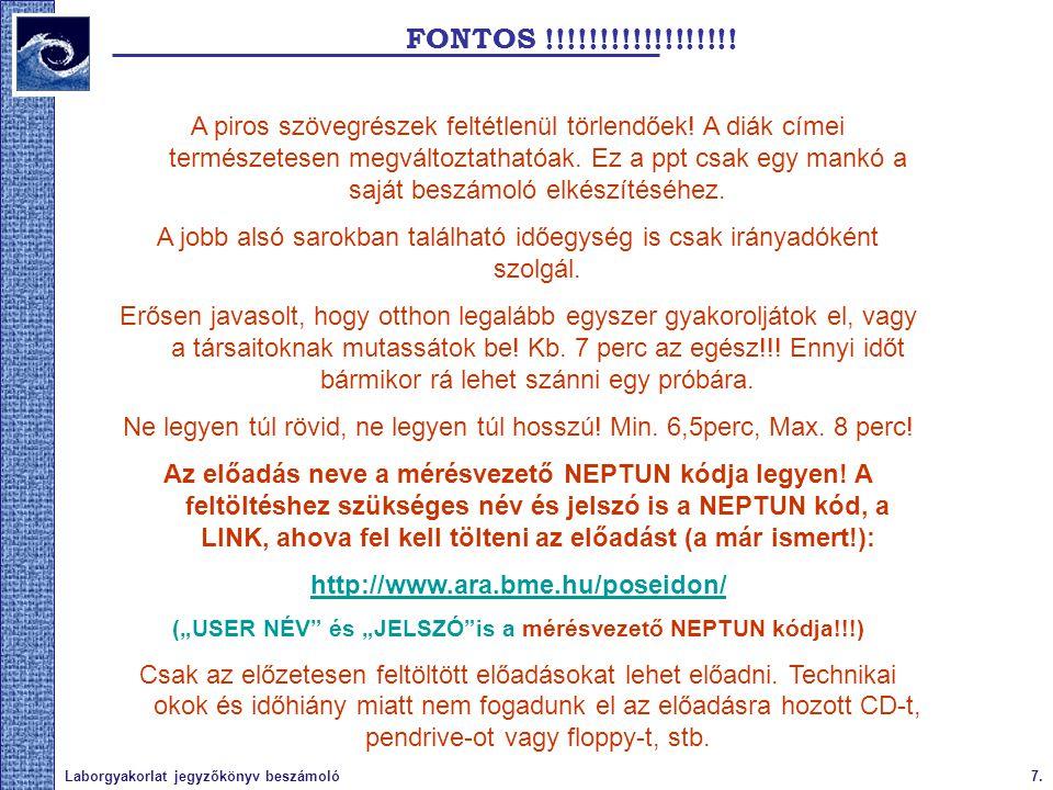 7.Laborgyakorlat jegyzőkönyv beszámoló FONTOS !!!!!!!!!!!!!!!!!! A piros szövegrészek feltétlenül törlendőek! A diák címei természetesen megváltoztath