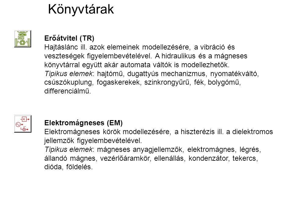 Könyvtárak Erőátvitel (TR) Hajtáslánc ill. azok elemeinek modellezésére, a vibráció és veszteségek figyelembevételével. A hidraulikus és a mágneses kö