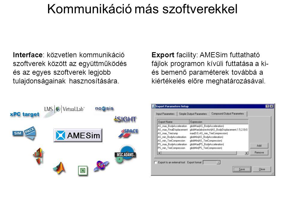 Egy AMESim mentés tartalma: NAME.ame: tartalmazza az összes file-t melyek szükségesek a modellhez TAR formátumban.