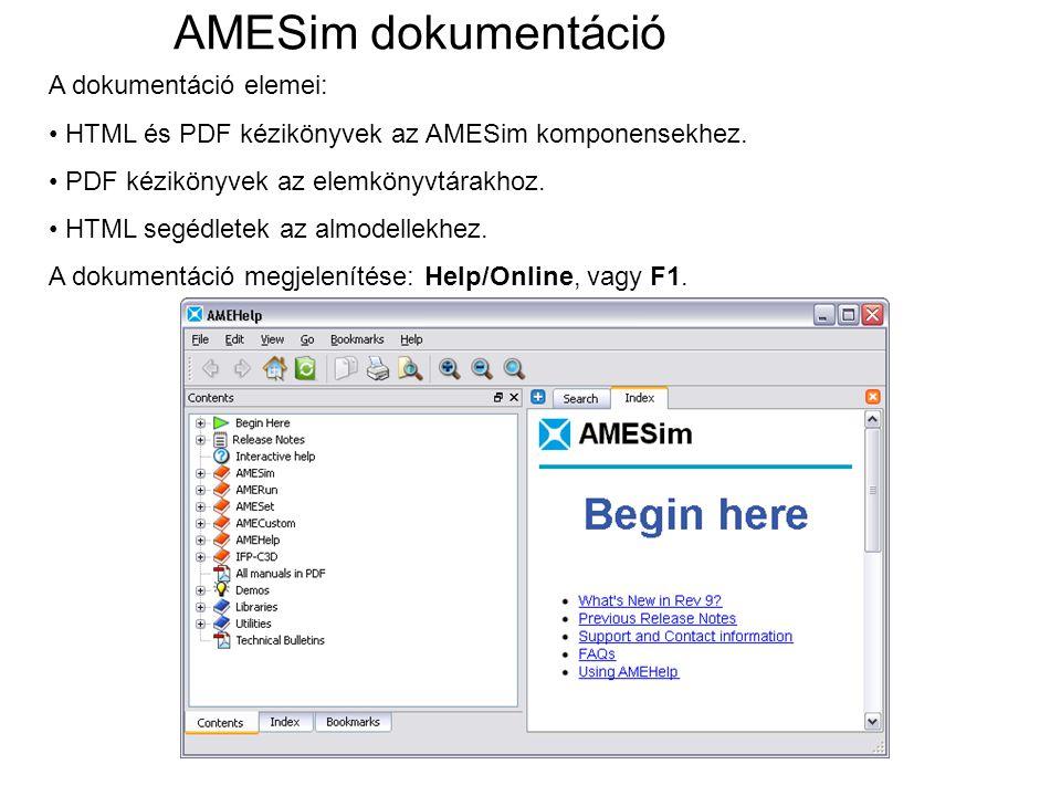 AMESim AMECustom AMESet AMERun Design exploration Az AMESim programcsomag Az AMESim segítségével az alábbiak végezhetők el: Új szimuláció készítése.