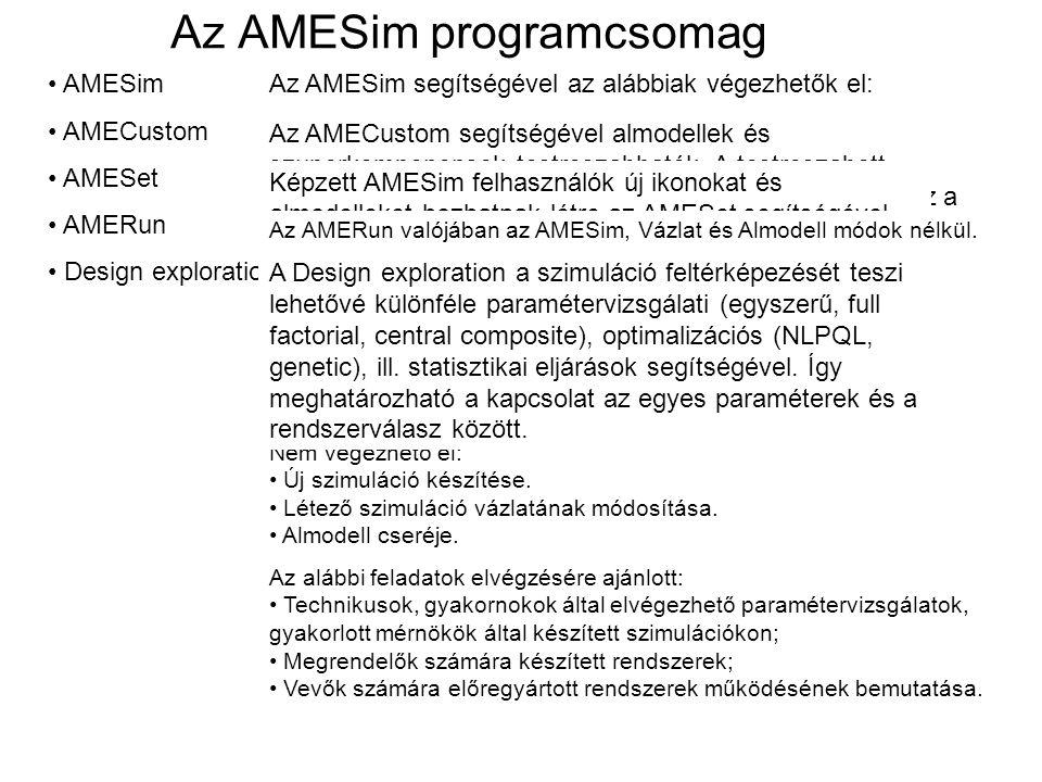 AMESim AMECustom AMESet AMERun Design exploration Az AMESim programcsomag Az AMESim segítségével az alábbiak végezhetők el: Új szimuláció készítése. L