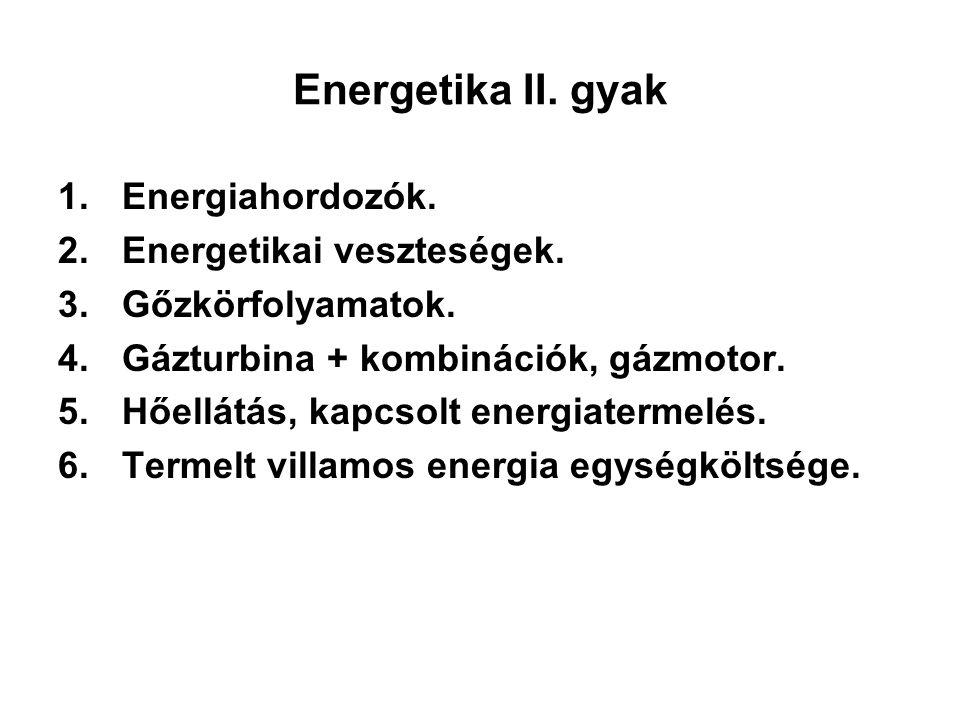 Energetika II. gyak 1.Energiahordozók. 2.Energetikai veszteségek. 3.Gőzkörfolyamatok. 4.Gázturbina + kombinációk, gázmotor. 5.Hőellátás, kapcsolt ener