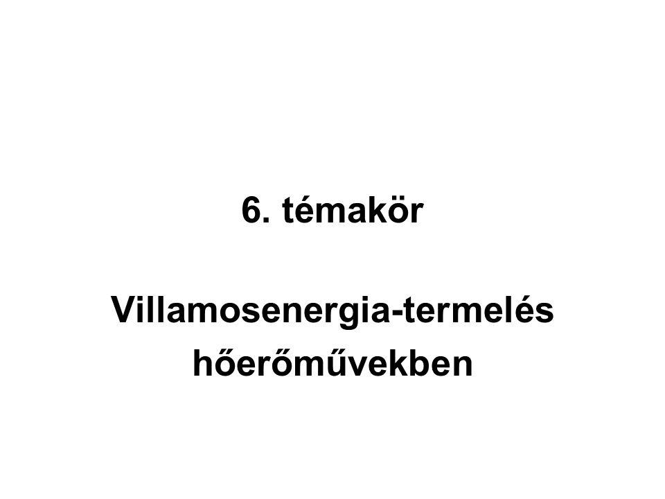 6. témakör Villamosenergia-termelés hőerőművekben